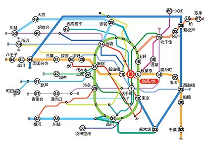 御茶の水駅周辺の路線図