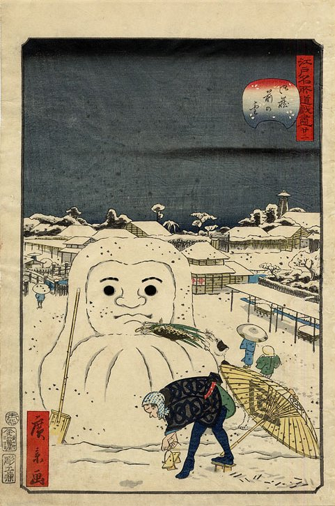 Hirokage_-_Comic_Incidents_at_Famous_Places_in_Edo_(Edo_meisho_dôke_zukushi),_No__22,_dog_stealing_a_workman's_meal_from_a_snow_Daruma