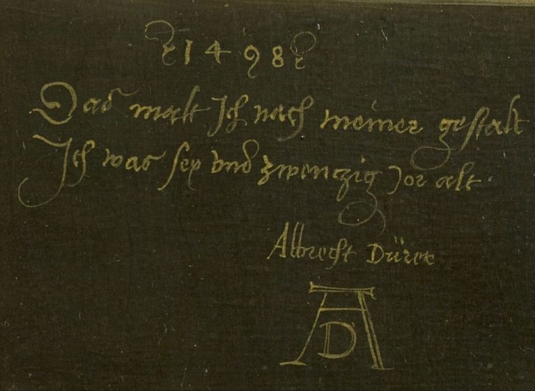 1024px-Dürer,_Albrecht_-_Self-Portrait_(Madrid),_inscription_-1498