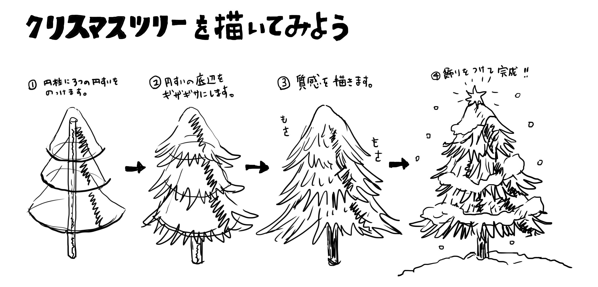 クリスマスツリー描き方